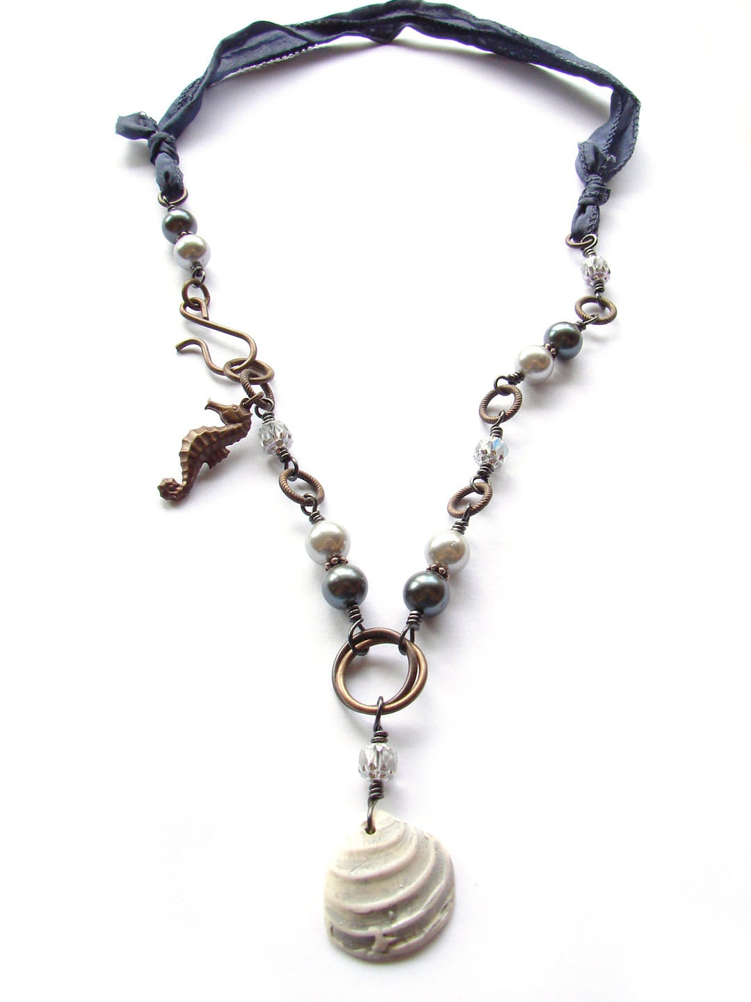 Gray Pearl and Polymer Clay Shell - Beach Necklace - ForMySweetDaughter