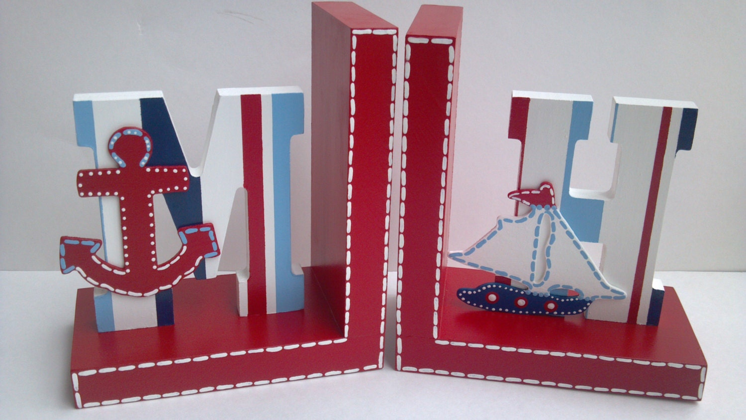 Nautical Bookends - Sailboat Bookends - Nautical Childrens room decor