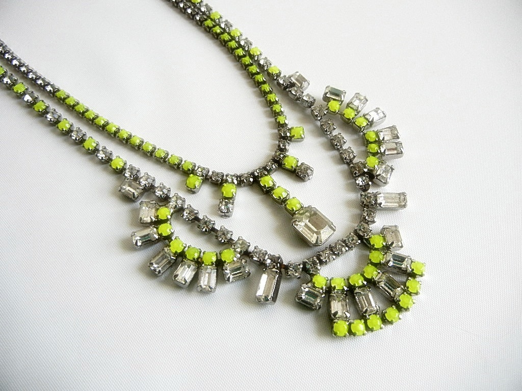 Vintage 1950s One Of  A Kind Neon Yellow Necklace - Made to Order - Can Be Made Any Neon Color
