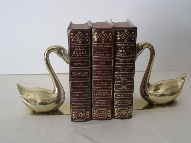 vintage Swan Bookends in Cast Brass