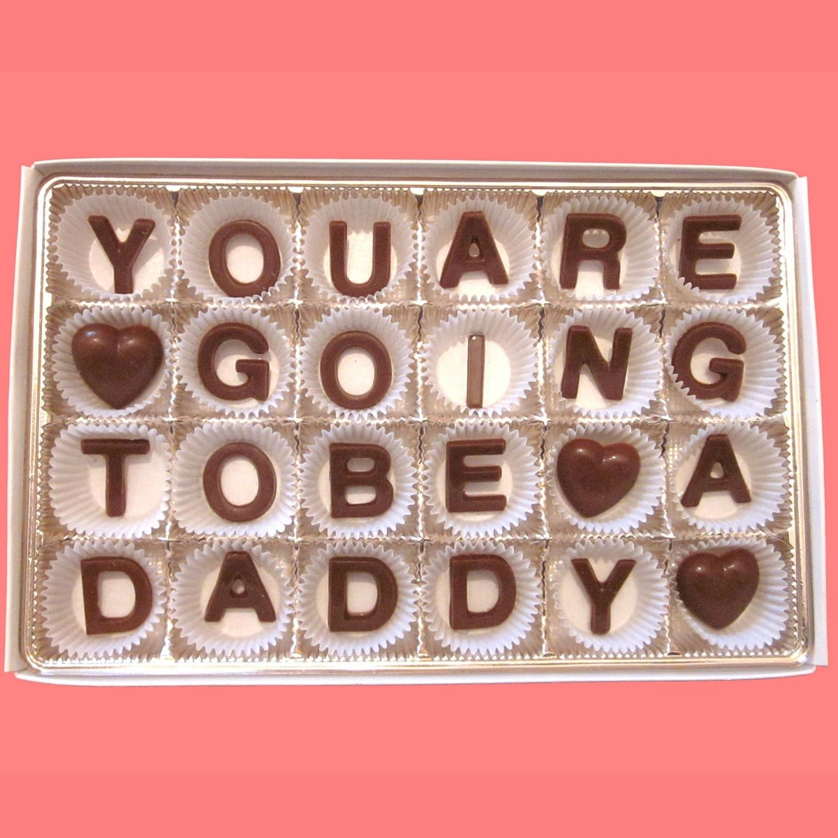 You Are Going To Be A Daddy Milk Chocolate Letters-Unique Announcment Gift for him-Made to Order