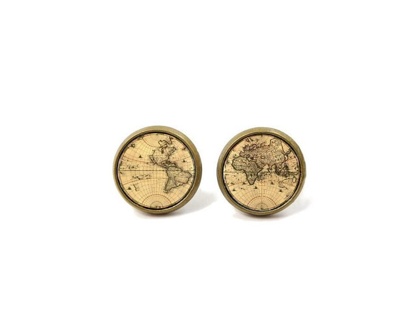 World Map Post Earrings Vintage Map Topography - MyDifferentStrokes