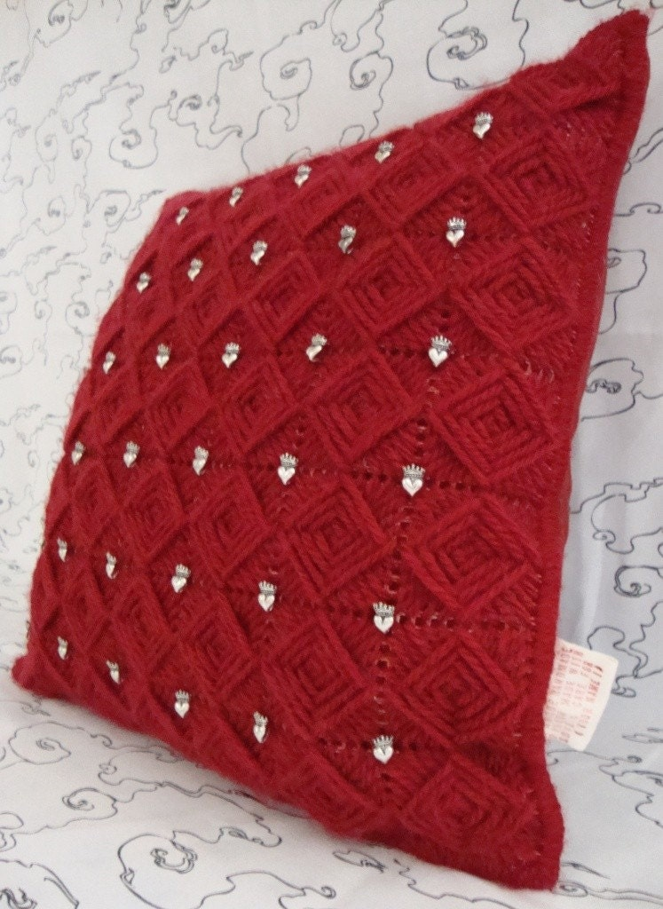 Needlepoint Handmade Pillow Cover with Heart and Crown Beads on Passion Red Squares / Shop Early for Christmas