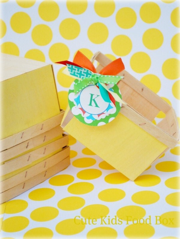 Berry Basket - Wood Berry Basket - Yellow Berry Basket Set of 6 - Picnic Basket - Lunch Box - Party Favor Box