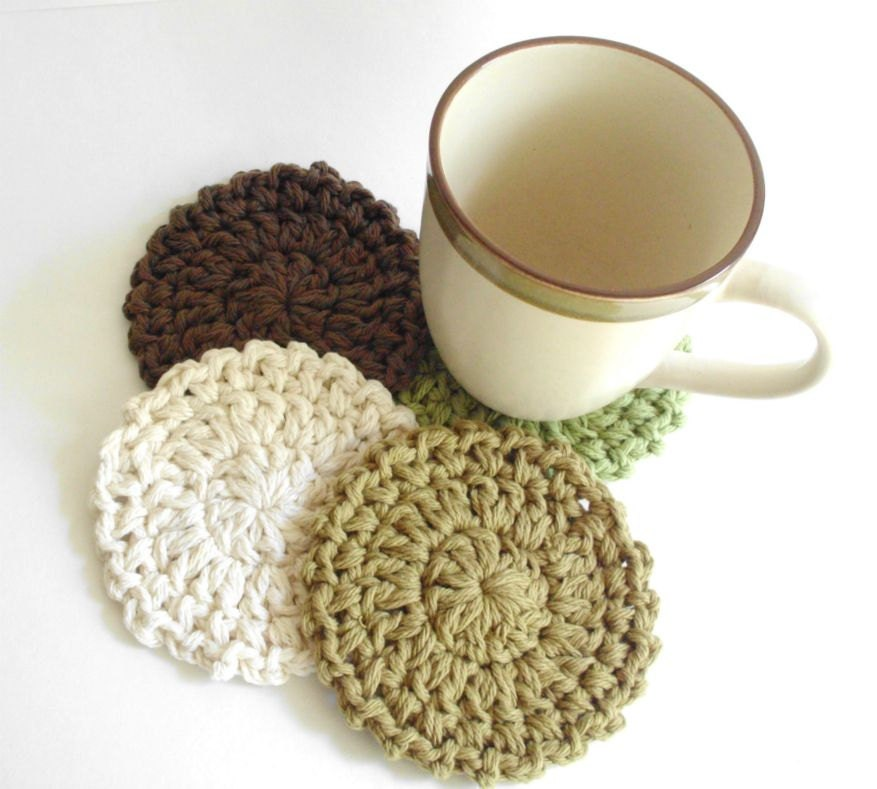 Crochet Coaster Set - 100% Cotton - pomegranatefarm
