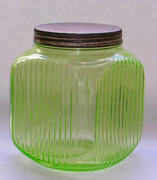 Vintage Hocking Depression Glass Canister Cookie Jar Green Uranium - Remtique