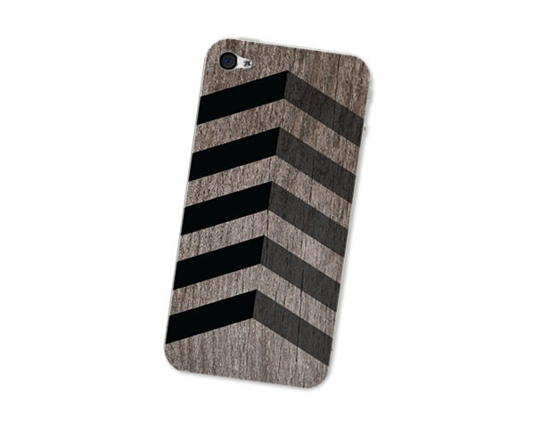 Wood Iphone Skin 4S - Gadget Decal for the Iphone 4 - Southwest Chevron Geometric Tribal Pattern in Black and Brown For Him Dad Father's Day - fieldtrip