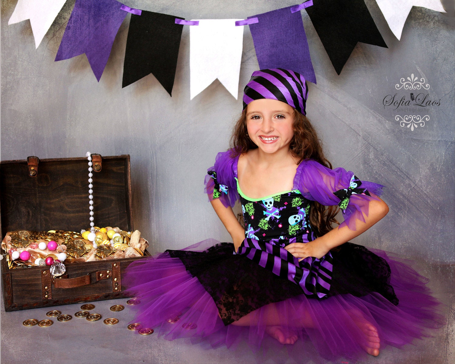 Pirate costume 12 Custom Boutique purple  Pirate skull tutu Halloween costume