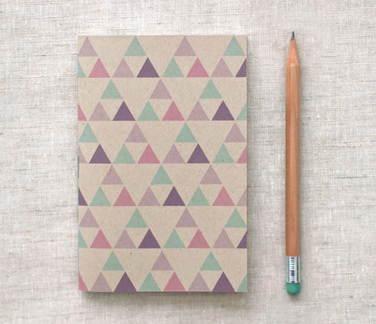 Eco Friendly Mini Journal, Sketchbook - Geometric Patterns, Purple, Green, Pink Triangles