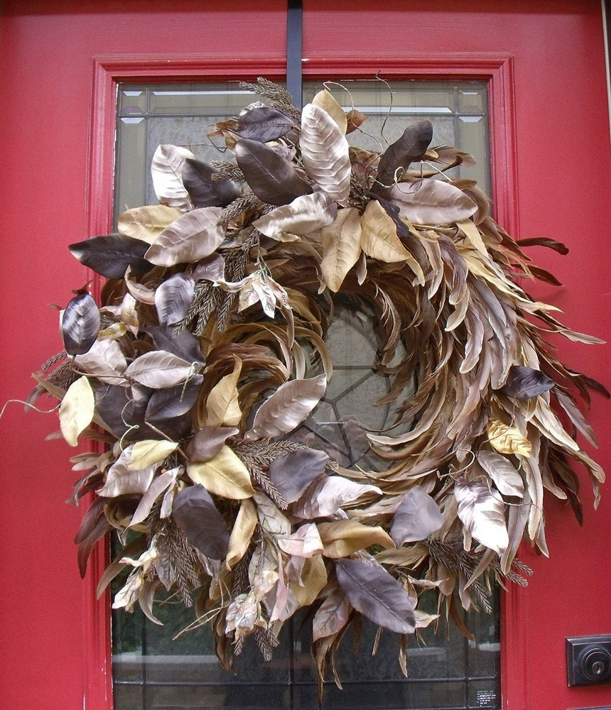 Fall Wreath Feather Champagne Twirl Christmas Wreath