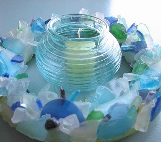 Пляж Декор море стекла Венок - Пляж стекла Венок в Aqua, синий и зеленый