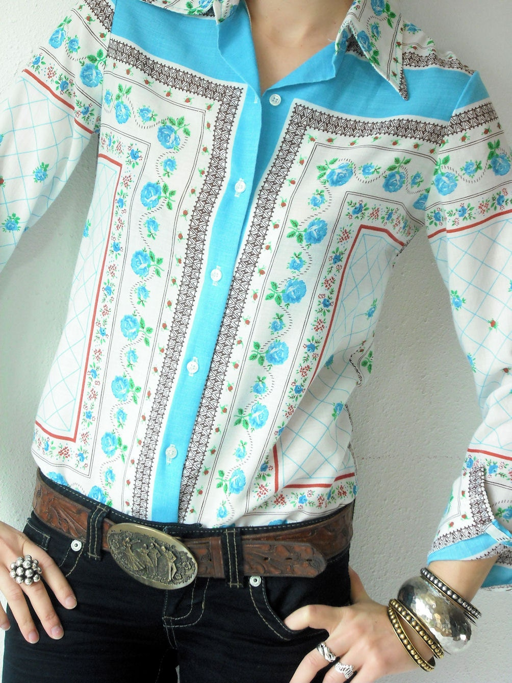 70's Vintage Handkerchief Bandana SCARF PRINT Blouse Button Up Floral White Blue and Clay