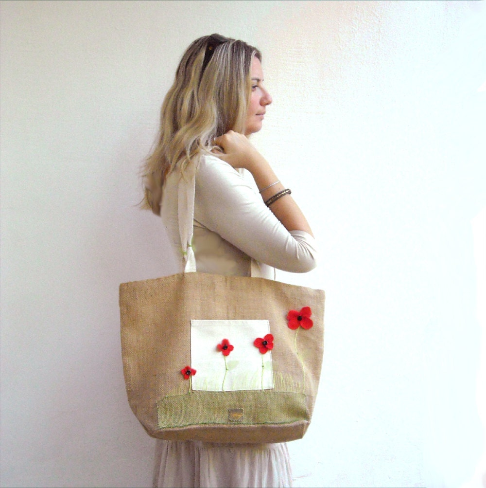 Poppies large tote jute bag - Lunica