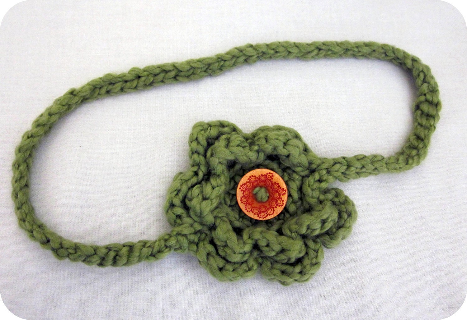 Woman's Organic Crocheted Flower Headband