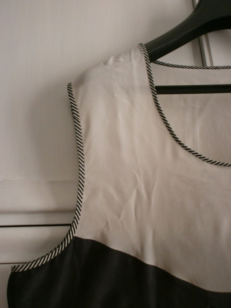 COCO SILK BLOUSE black and white silk top free worldwide shipping