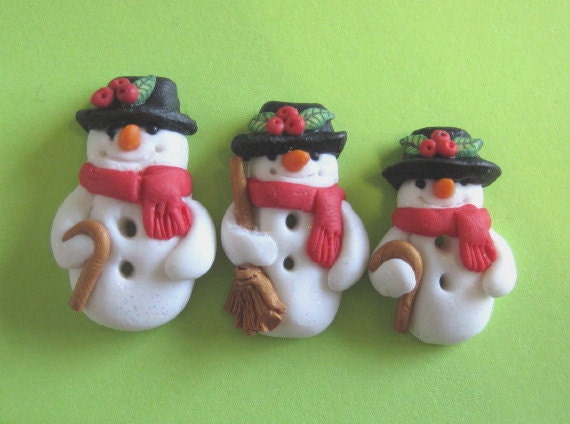 Sparkly Snowman Buttons