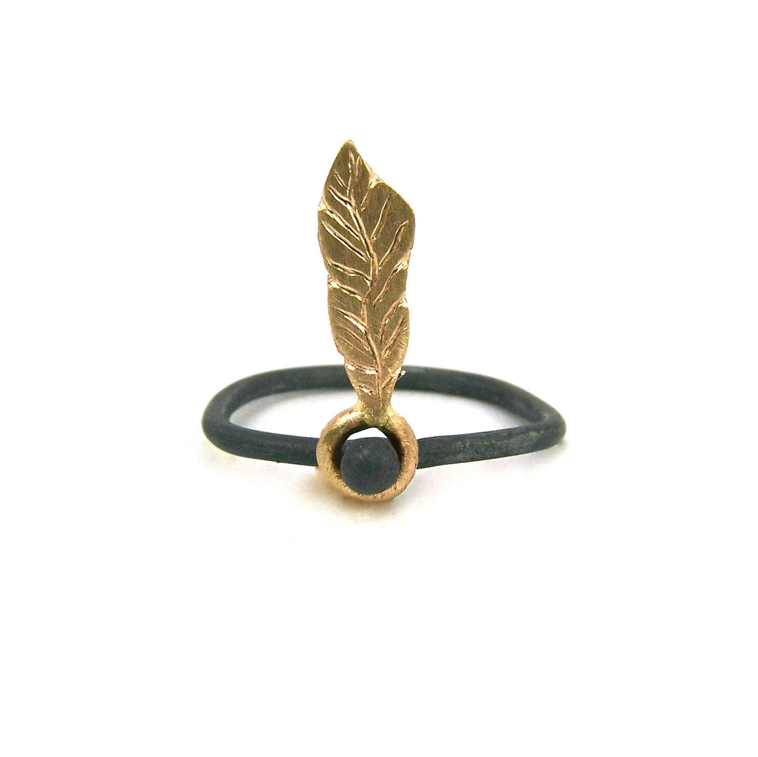 Gold Feather Charcoal Silver Ring - Dancing Feather - NangijalaJewelry
