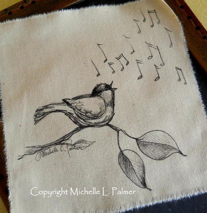 Original Pen and Ink Art Illustration on Tea Stained Muslin Fabric Chickadee Songbird Bird