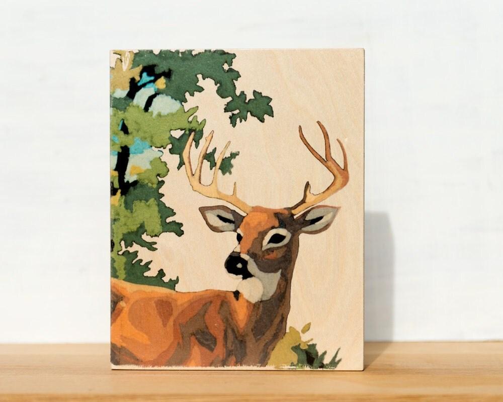 "Stag Paint by Number Large Art Block -  8"" x 10"", vintage, woodland, deer - StudioLiscious"