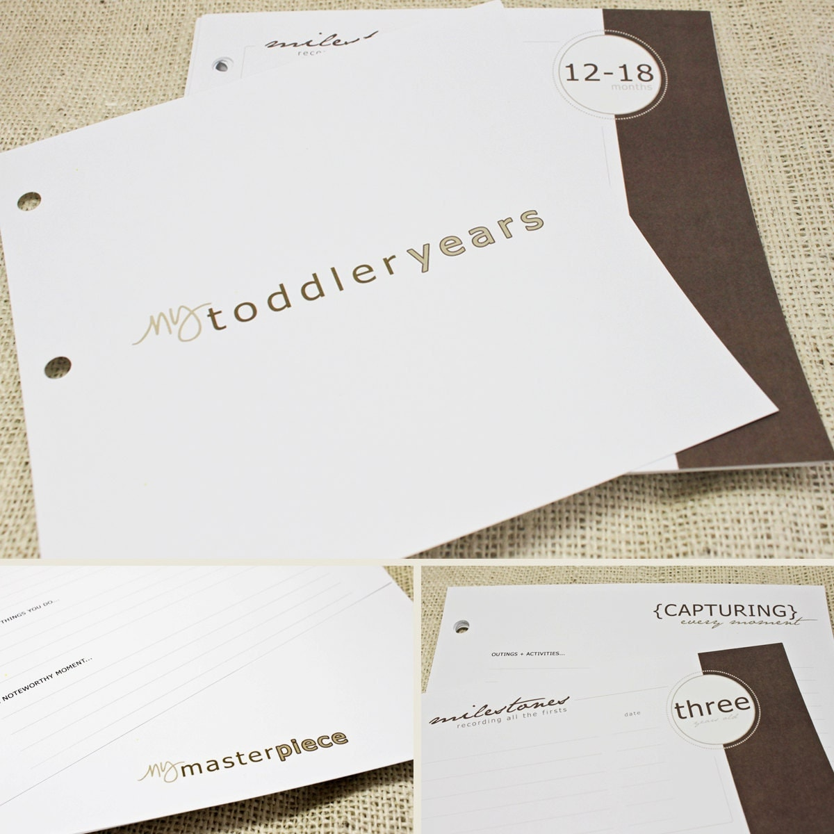 Toddler Keepsake Pages - includes 12 months to 5 years (56 designed journaling pages to add to any of our baby albums)