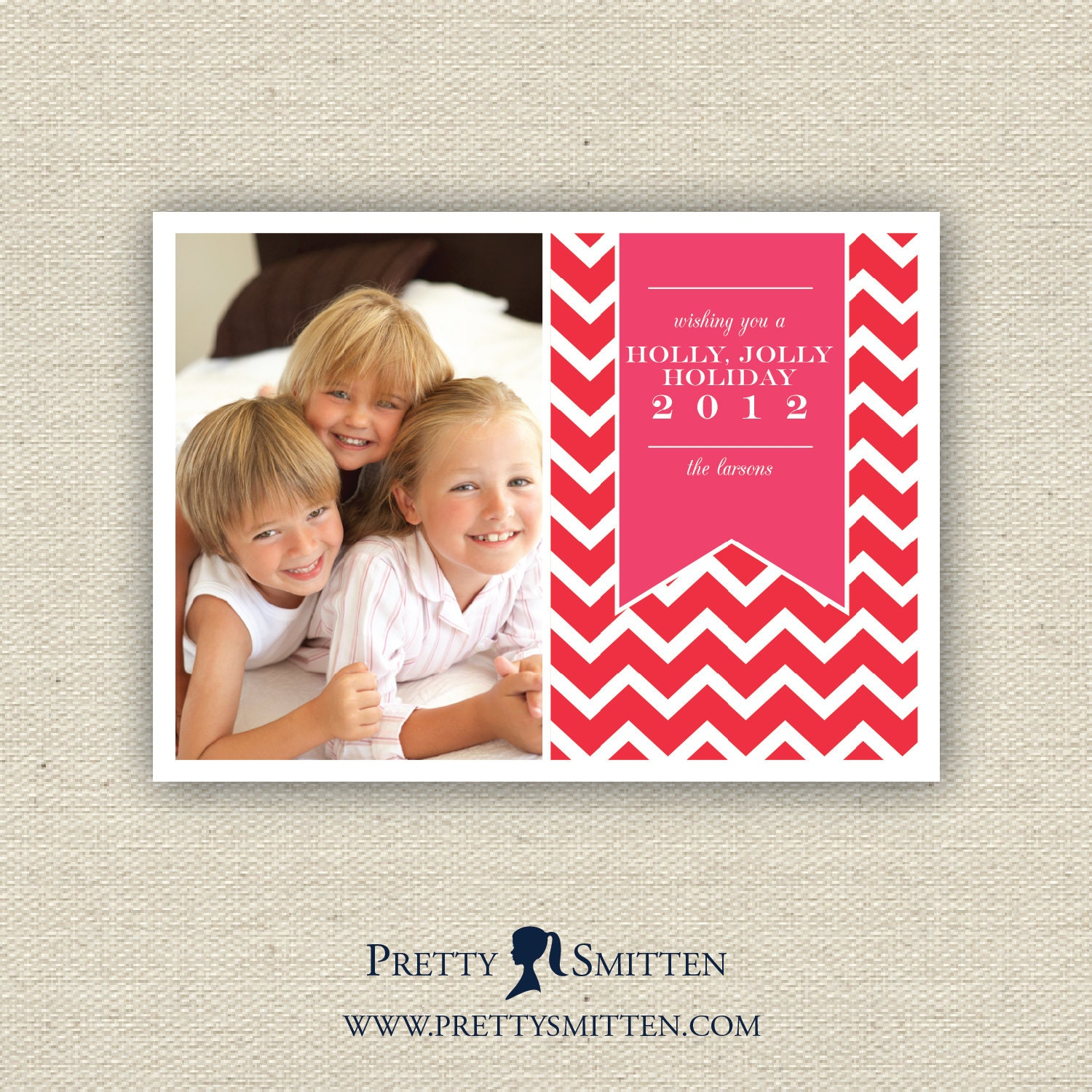 Personalized Holiday Photo Card - CHEVRON Collection, you pick color