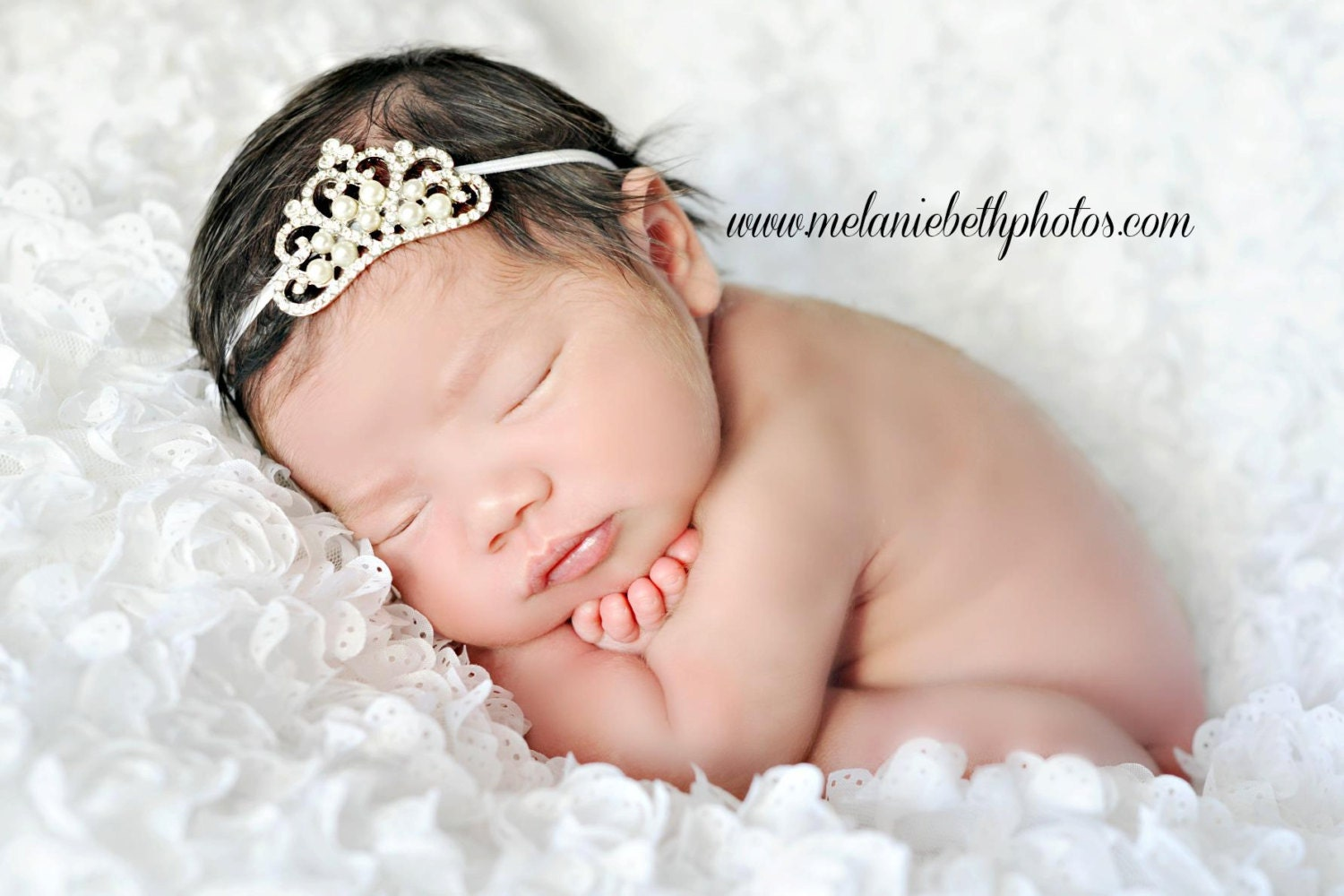 Baby Headband, Baby Tiara, Crystal & Pearl Tiara Headband, Princess Tiara, Baptism, Christening, Newborn Toddler Child Girls Headband - TheFairyFactoryShop