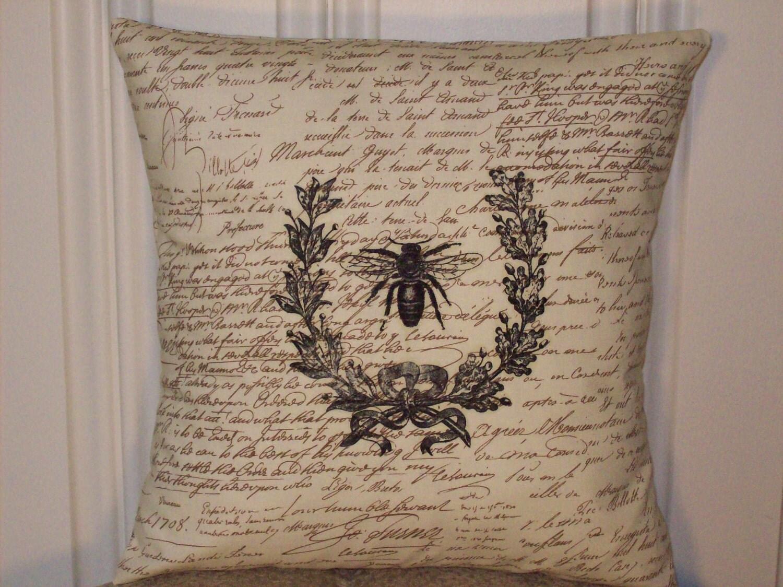 потертый шик, корма мешок, французский страны, старинные пчелы графика на коричневых и крем сценарий печати 14