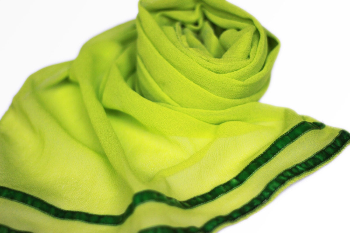 Bright Lime Green Georgette scarf - Available with Frill Lace or with Velvet Ribbon Edge
