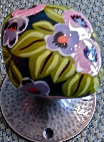 2 Ceramic Black Floral Door Knobs From India - For Indoor, All Hardware - Beautiful Pink, Green, & Purple Floral Design