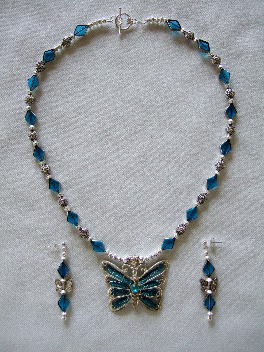 OOAK Fashion Beaded Necklace Vintage Butterfly by JewelrybyIshi