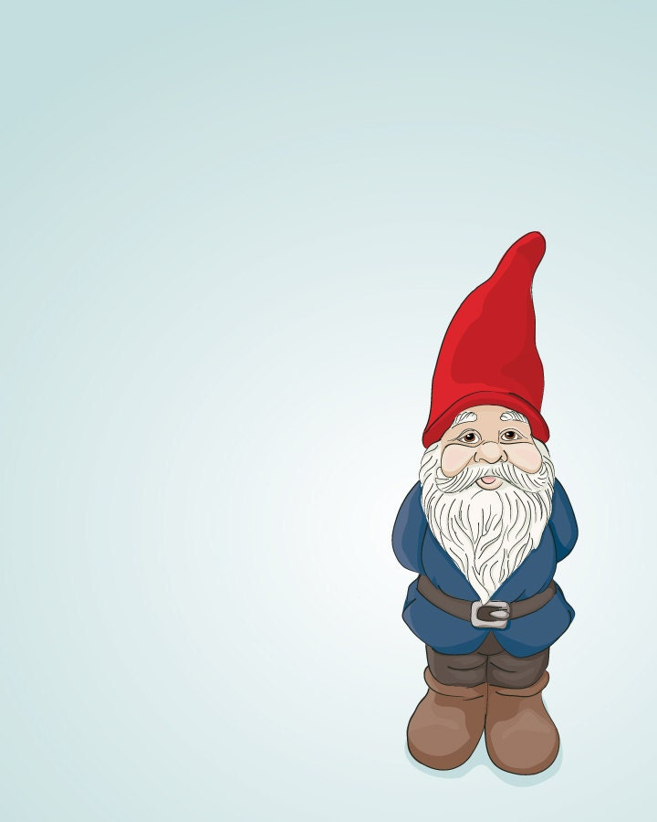 Garden Gnome - Red and Blue - Illustrated Print - 5x7 Archival Matte - DieselAndJuice