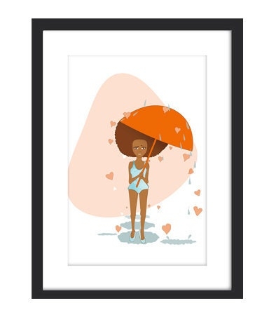Ready4Love - Cute Afro girl Adorable Vector Illustration Print 9x12