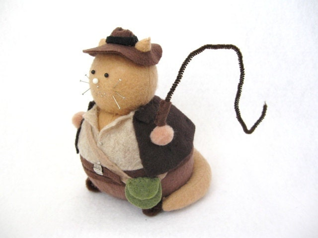 Indiana Jones Cat Pincushion cute felt kitty cat collectable or gift for animal lover...MADE-TO-ORDER...New