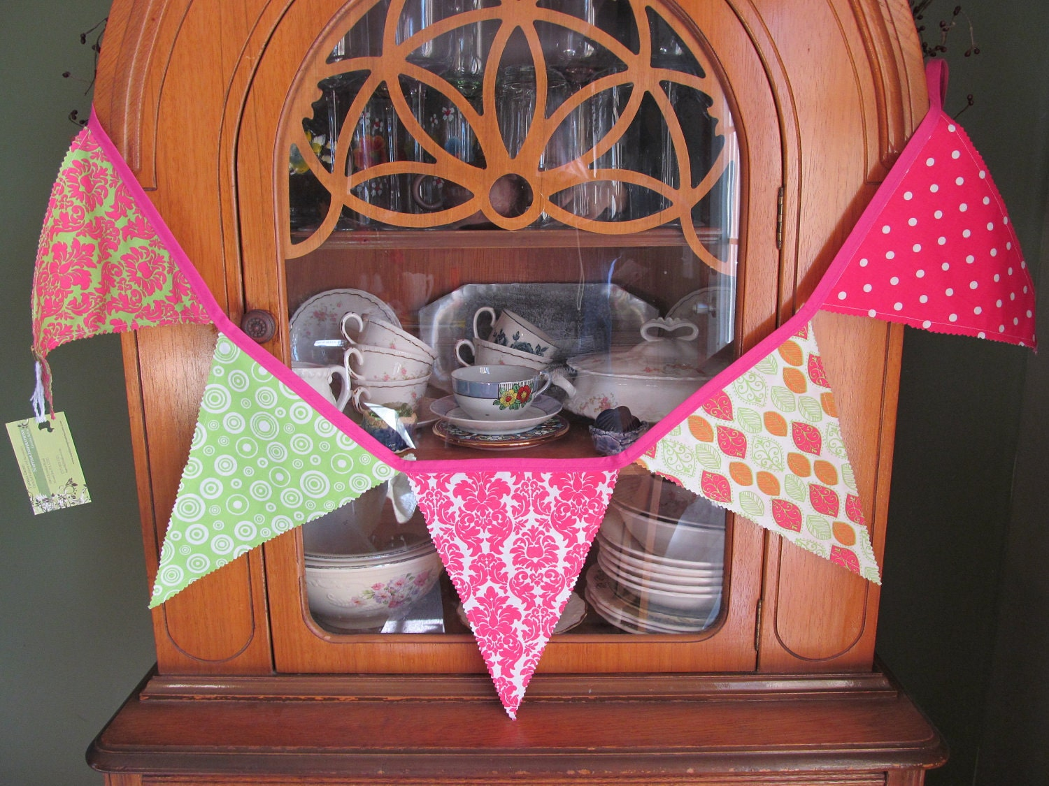Pennant Banner in Pink and Green Fabric
