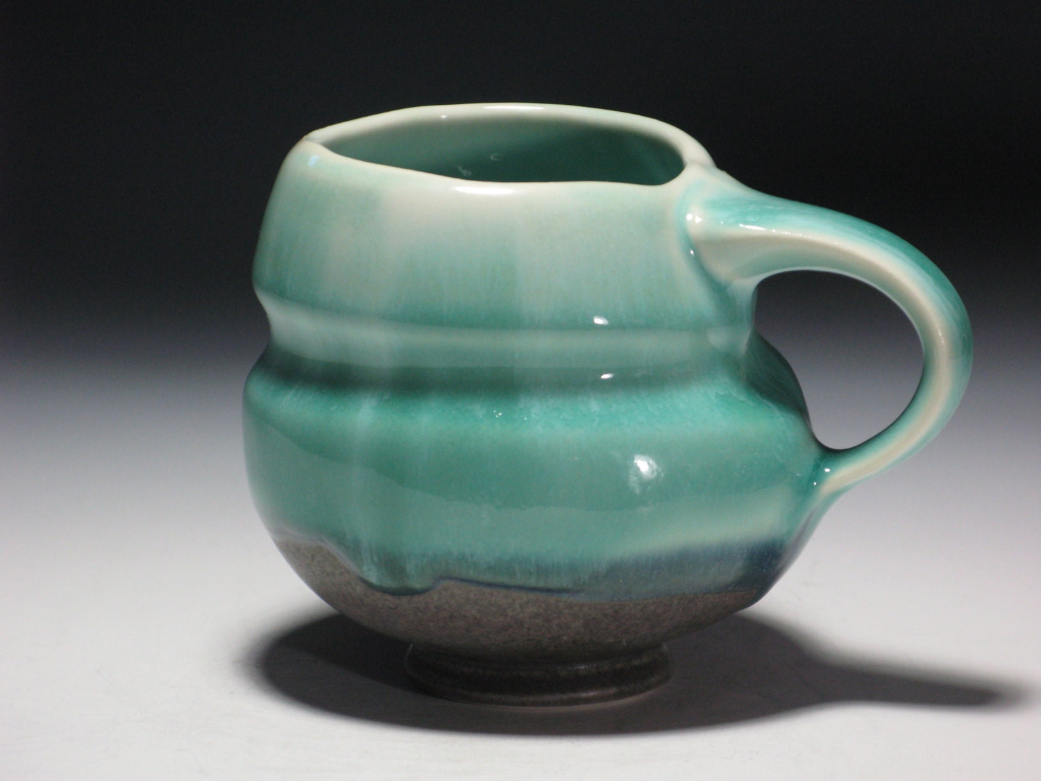 Pottery Mug Ceramic Porcelain Handmade Coffee Tea Turquoise Green Blue Grey