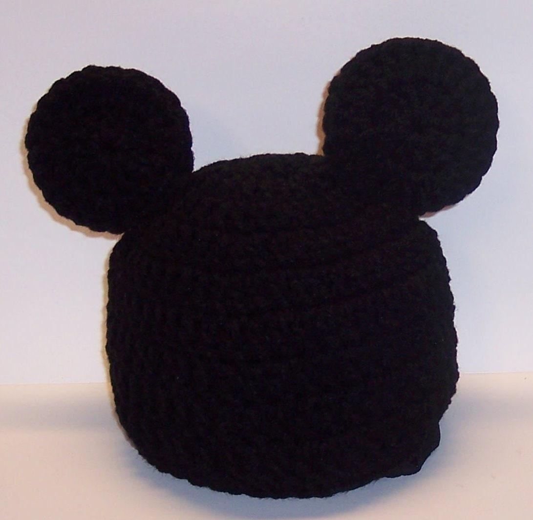 ADULT Mickey Mouse Beanie Flapper hat Ladies or Mans crochet hat
