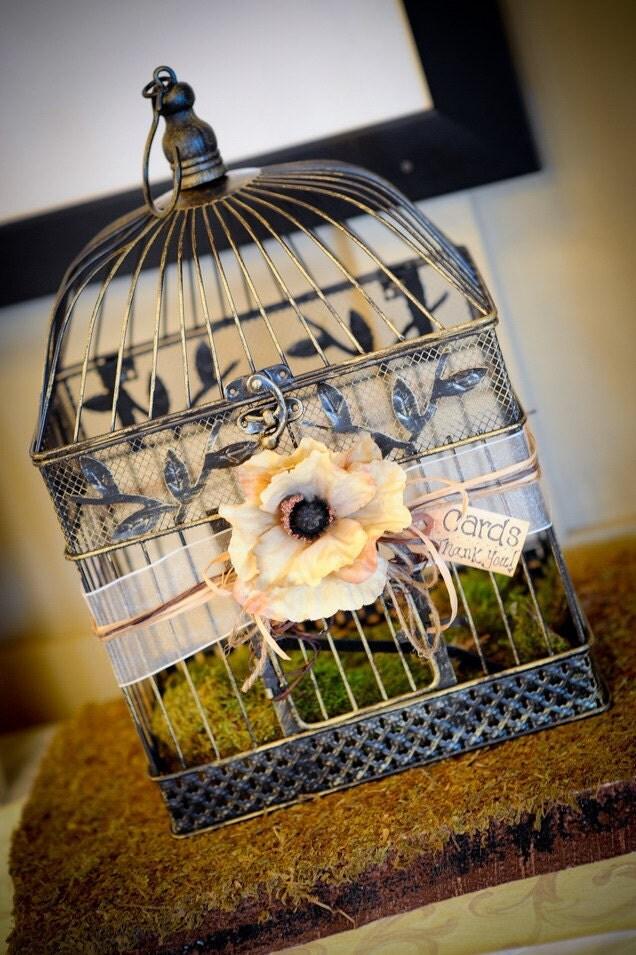 Rustic Vintage Wedding Birdcage Card Holder From LivFreeBoutique