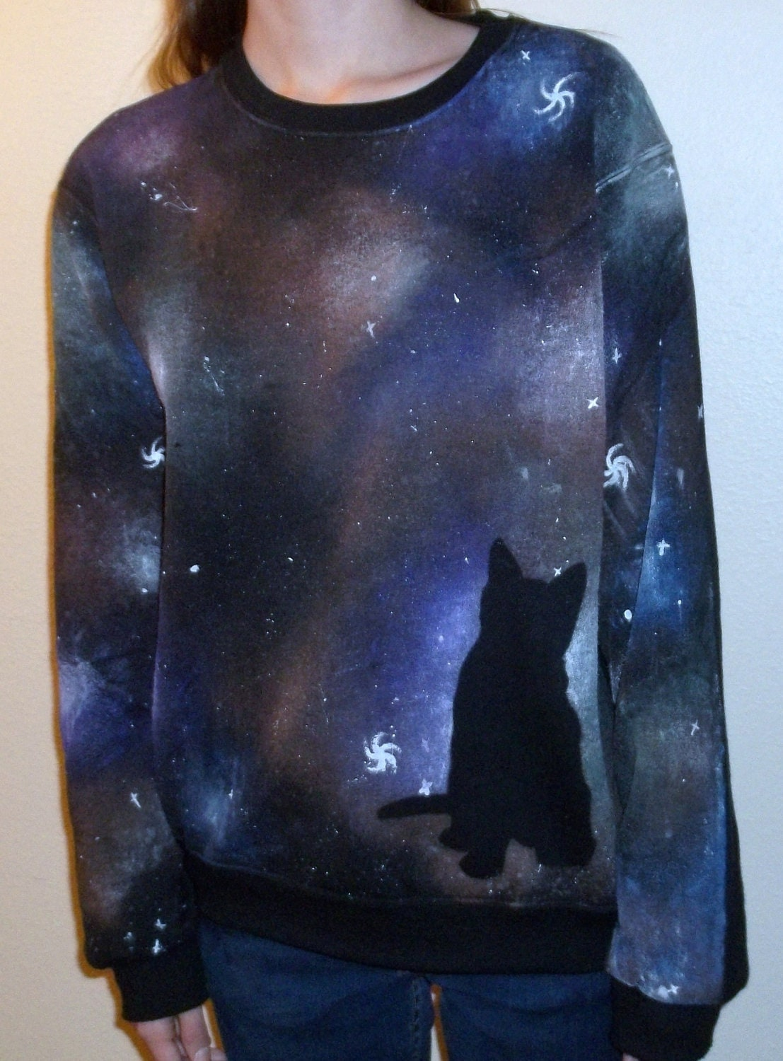 Multicolored Cat Galaxy Cosmos Sweater available in XL and XXL