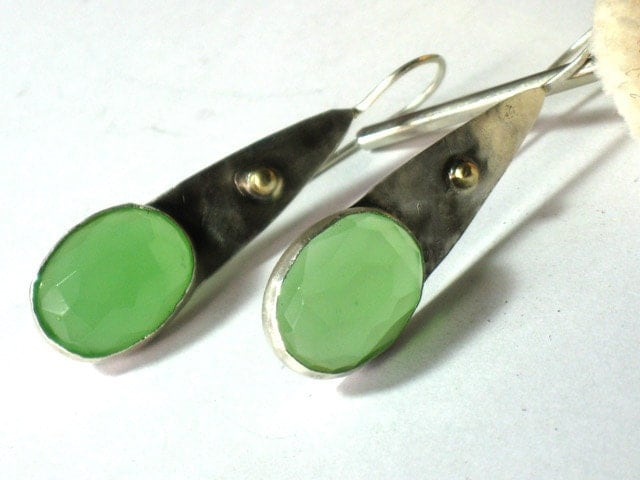 Silver with  gold and Green Apple Quartz earrings - rioritajewelry
