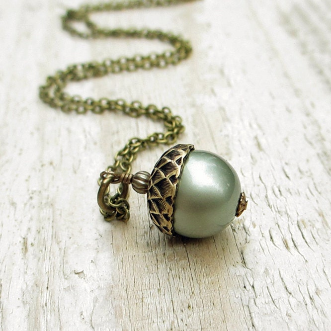 Pearl Acorn Antiqued Brass Necklace -  Swarovski Crystal Pearl, Brass Chain, Powder Green, Woodland, Blue Green - BeadinByTheSea