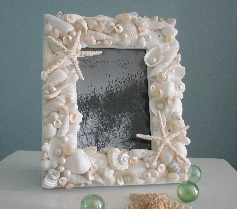 Пляж Декор Seashell Рамки - Shell Frame W Все Белого Starfish & Pearls - 5x7