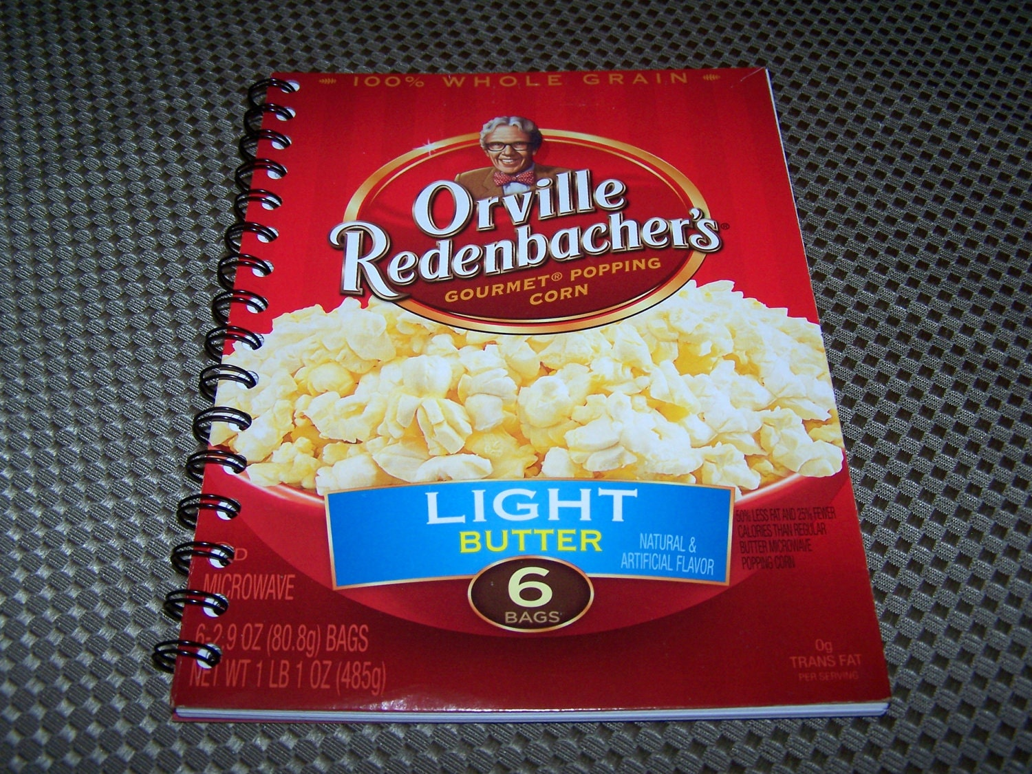 Upcycled Notebook Upcycled Notepad: ORVILLE REDENBACHER'S Popcorn Notebook Recyled 50 Page Spiral Bound Notebook