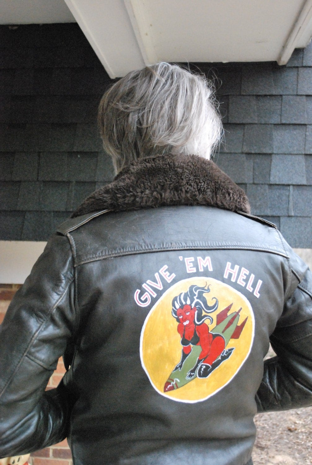 WWII Style Nose Art Custom Painted Bomber Jacket - TemporalOutfitters