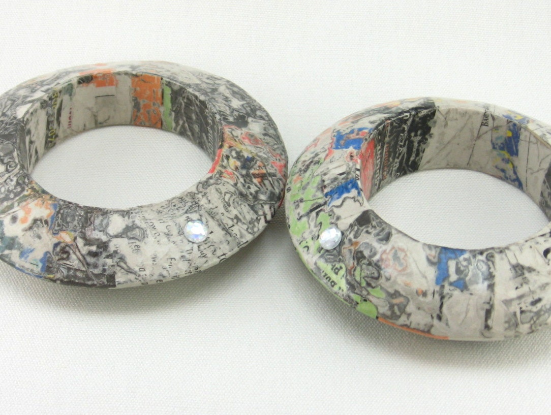 SALE...25% off...free shipping to US...BIGASS paper mache bangle set, two stacking bangles, recycled, upcycled
