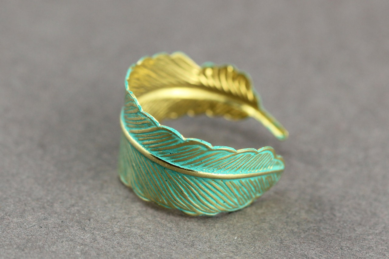 Feather Ring : Bohemian Gold Feather Wrap Ring, Feather Charm, Adjustable, Leaf, Simple, Casual, Yoga, Patina Teal Finish Coating - ArtisanTree