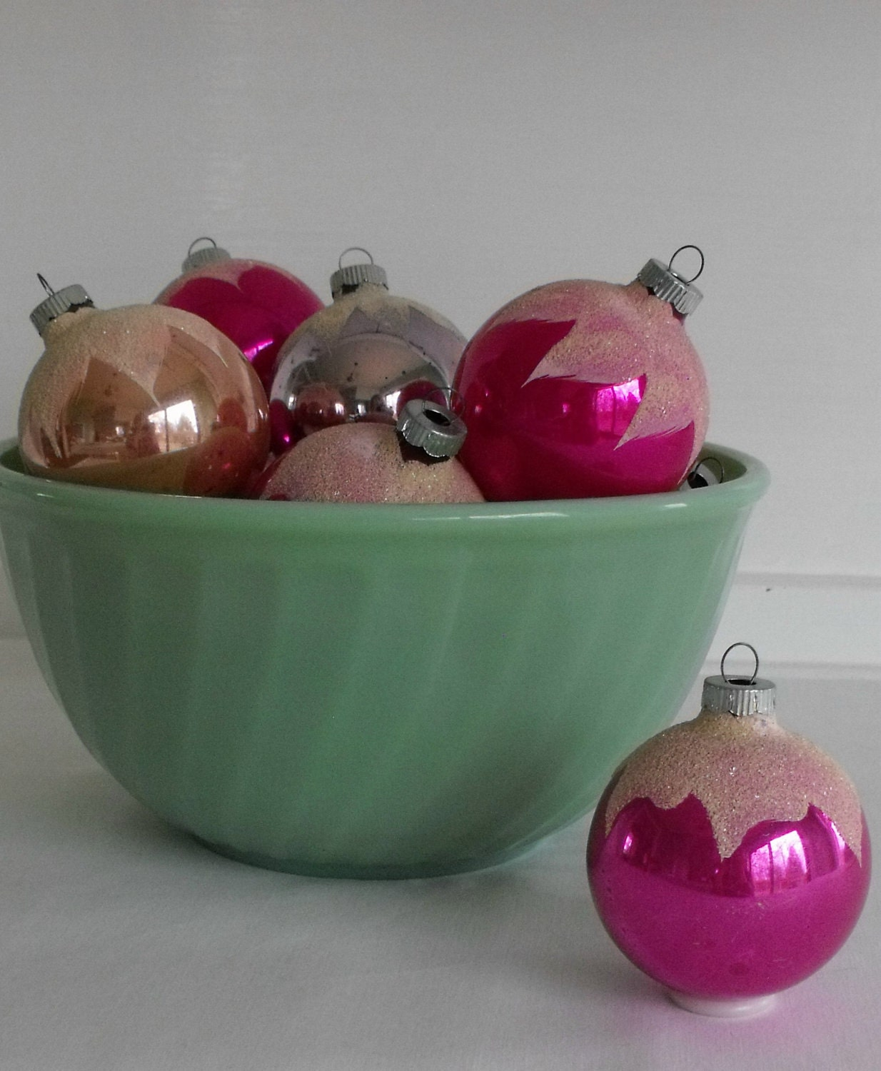 12 vintage glass Christmas ornaments, Shiny Brite snow balls in bright pastels
