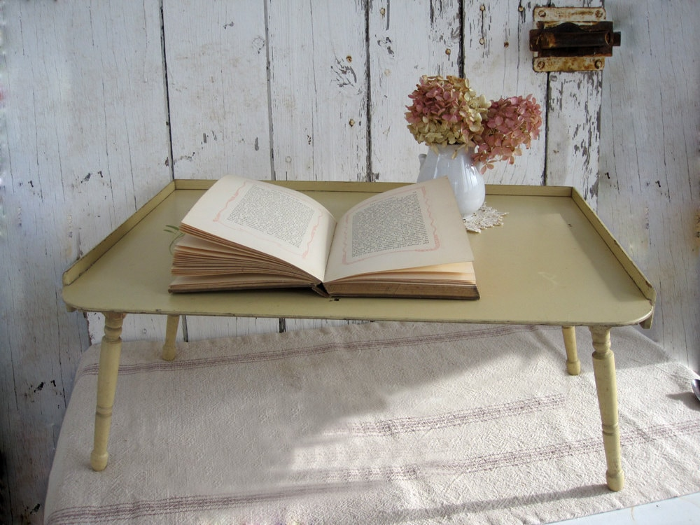 Wood Bed Tray Fold Up Legs Shabby Chic Farmhouse 1940's