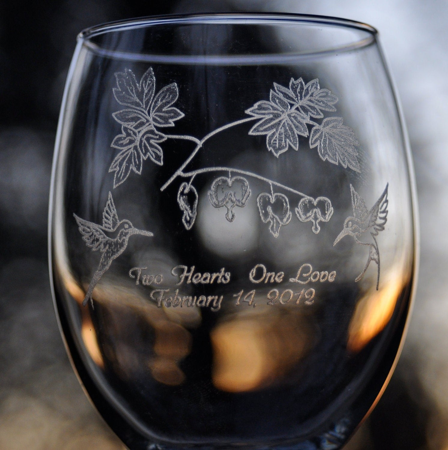 2 Hearts One Love - Pair of 12 oz White Wine Glasses - ($20)