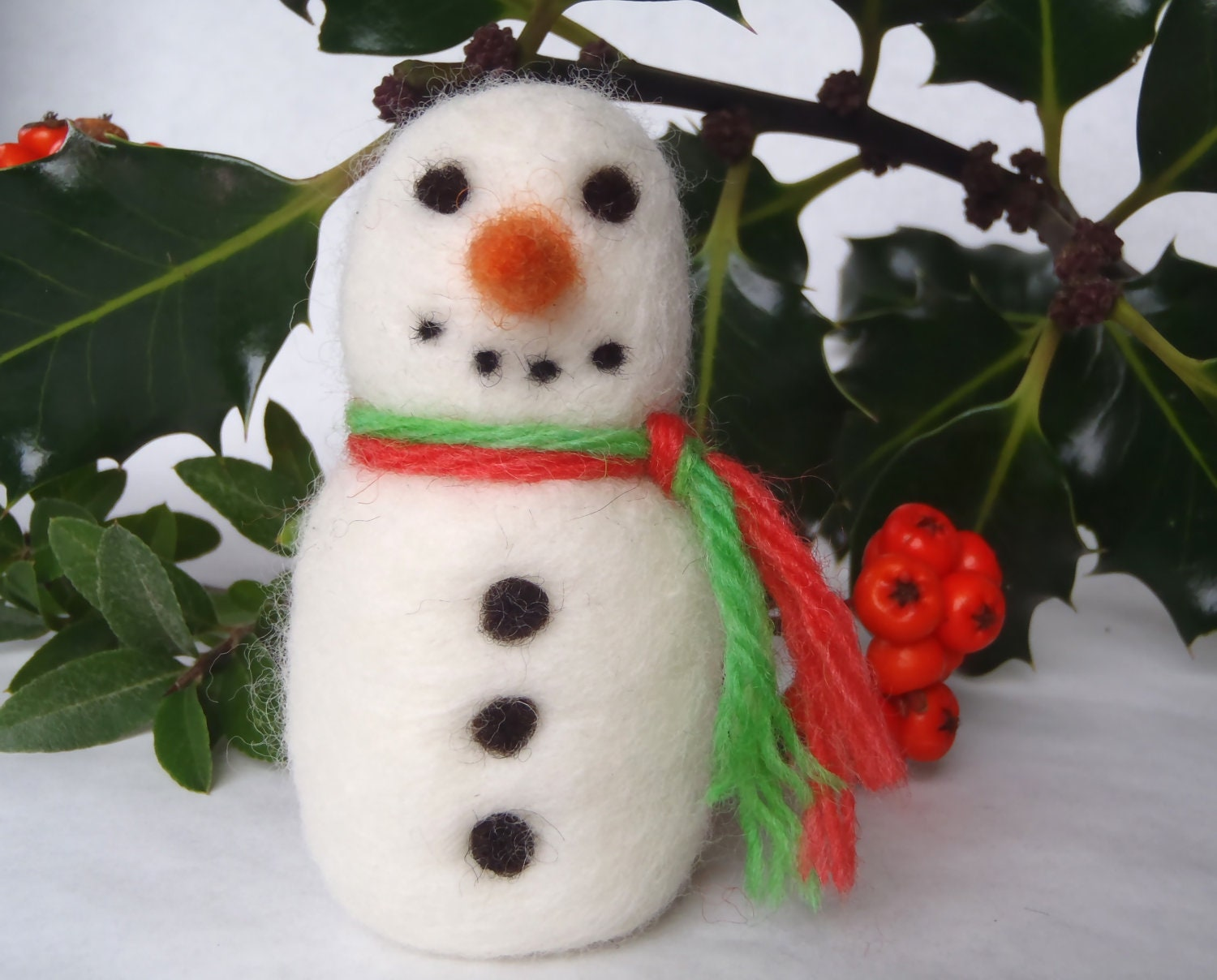 Felted Snowman, holiday decoration, Christmas centerpiece