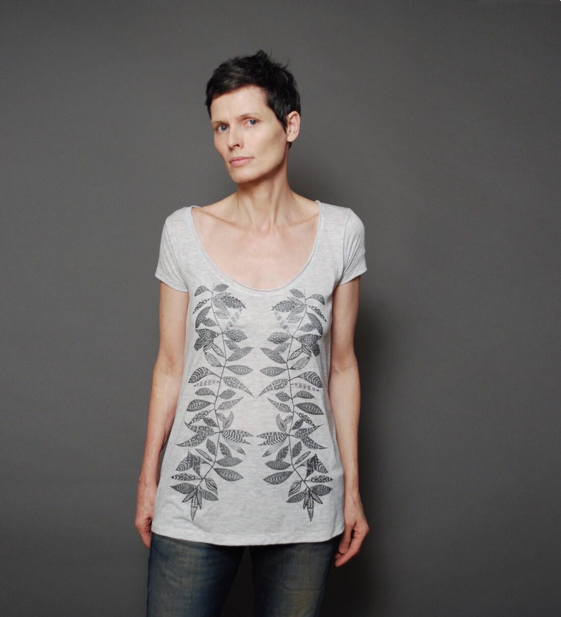 Womens Deep Scoop T shirt - Twig Vine Spring Fashion Loose fit T-Shirt - Alternative Apparel T shirt - sealmaiden